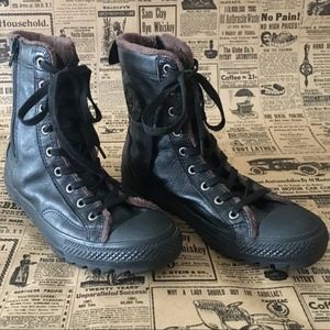 Converse Leather High Tops Black & Fleece Lined
